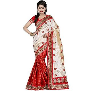 SVB Sarees  Women's Multicolor Block Print Art Silk Saree With Blouse