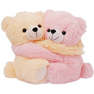 Cute Pink and Cream Bear Couple Soft Toy, Pink (9.8-inch)