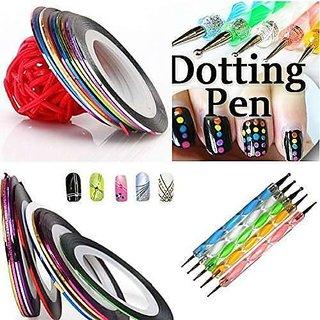 5 X 2 Way Stylogic Marbleizing Dotting Pen Set For Nail Art Manicure Pedicure +10 Nail Striping Rolls Nail Art Decoration Striping Tape