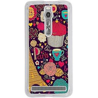 Casotec Paris Flower Love Design 2D Hard Back Case Cover for Asus Zenfone 2 - Clear