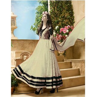Womens Net Anarkali Dress Material (212B Cream Medium)