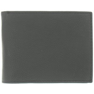 LOUIE STORE Mens Black Pebble Genuine Leather  ID Holder  Bi-Fold Wallet