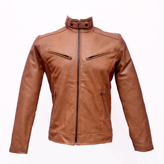 Solid Camel PU Leather Jacket