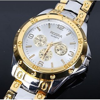 Rosara Stylish Mens Golden-Silver watches by Brand King