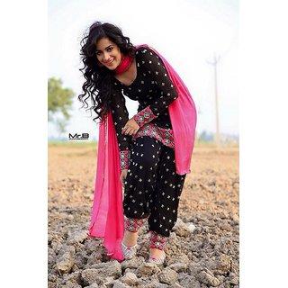 Buy Black And Pink Colour Combination Georgette Patiyala Salvar Suit