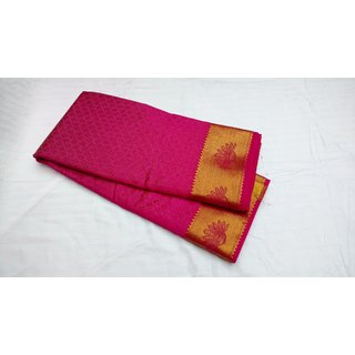 Balaji Fasions Purple Georgette Self Design Saree With Blouse