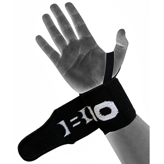 Kobo Power Wrist Weight Lifting Training Gym Straps With Thumb Support Black