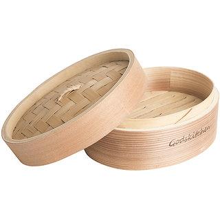Godskitchen Round Shape Momos / Dimsum / Wanton Steamer Bamboo Box - Round Shape Momos Bamboo Basket in 8 inch