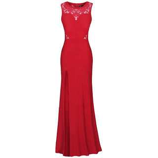 ghanshyams womens party wear gown red  in color