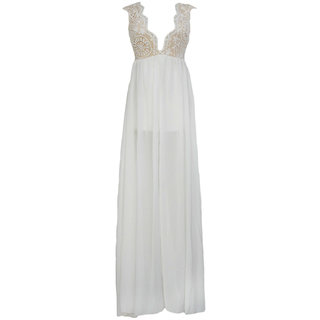 hussains womens party wear gown  white  in color