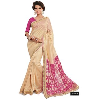 Sachi Pink & Cream Tussar Silk Embroidered Saree With Blouse