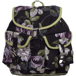 Vivinkaa Black Flower Canvas Backpack for Women