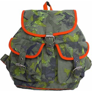 Vivinkaa Camo Green Canvas Backpack for Women