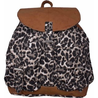 Vivinkaa Black Tiger Leatherette Backpack for Women