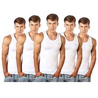 Lux Cozi Pack of 5 Mens White Cotton Vests