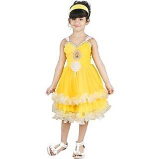 RAMESHDRESSES Girls Empire Waist Yellow Dress