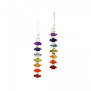 EEKABA 925 Sterling Silver Gemstone Chakra - Chakra Jewellery Earrings EKCER02