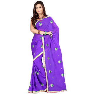 Sanju Saree Fabulous Purple Color Georgette Saree
