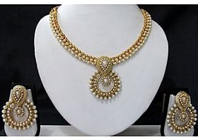 Pearl and Pearl Polki Pendant Necklace Set
