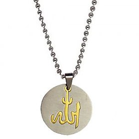 Men Style High Polished Islamic God Allah  Laser Cut   Gold And Silver  Stainless Steel Round Pendent For Men And Women