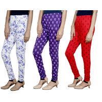 Indistar Girls Premium Cotton Casual Printed Legging (Set of -3)