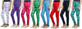 Indistar Girls Premium Cotton Casual Printed Legging (Set of -8)