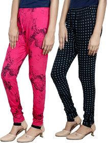 Indistar Girls Premium Cotton Casual Printed Legging (Set of -2)