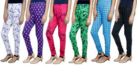 Indistar Girls Premium Cotton Casual Printed Legging (Set of -6)