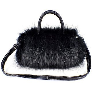 Modo Vivendi Womens Designer Fur Purses Stylish Woolen Purses ( Black )