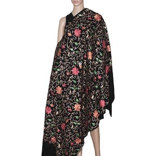 Kashmir Collection Beautiful Flower Embroidery Shawl for women