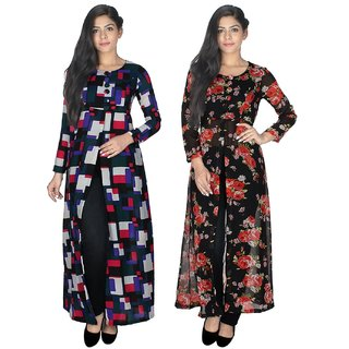 Klick2Style Pack of 2 Black Printed Cape Dress For Women