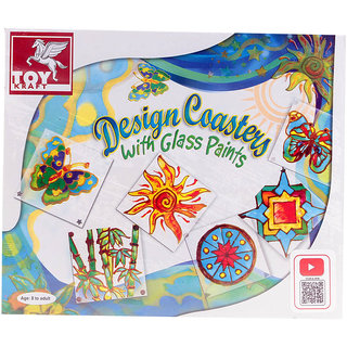 ToyKraft Glass Painting Designer Coasters