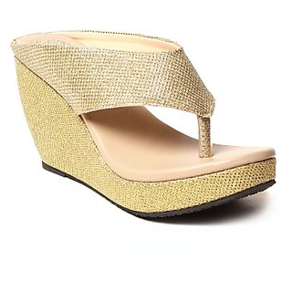 Hansx Womens Gold Wedges