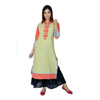 Saksh Beige Colour Embrodery Cotton Casual wear kurti for women