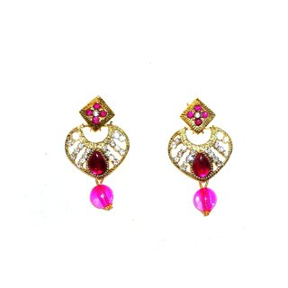 Shrungarikaa Alloy Pink Drop Earrings for women