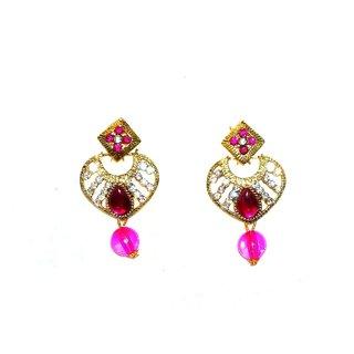 Shrungarikaa Alloy Pink Drop Earrings for women
