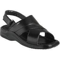Action Dotcom MenS Black Velcro Sandals - 93287632