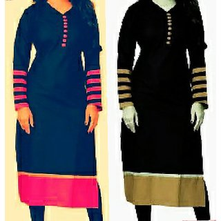 Buy Set Of Two Designer Long Cotton Kurties Tops Kurtas For