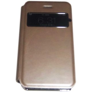 Golden Steel Finish S View Flip Protective Cover Case for Apple iPhone 4 / 4S
