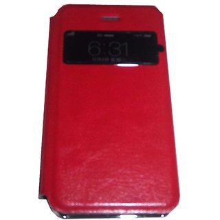 Red Steel Finish S View Flip Protective Cover Case for Apple iPhone 4 / 4S