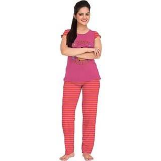 So Sweety Womens Printed Pink Top  Pyjama Set