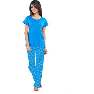 So Sweety Womens Printed Blue Top  Pyjama Set