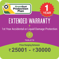 GreenDust Protection Plan for Tablets (Rs. 25001-30000), 1 year-Delivery by Email