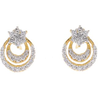 Office and Dailyware Gold  Rhodium plated American Diamond Stud Earrings by ...