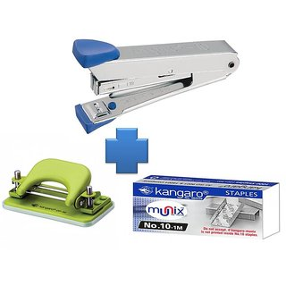Combo Set Kangaro Stapler no.10 + Stapler Pins + Paper Punch Machine DP-52