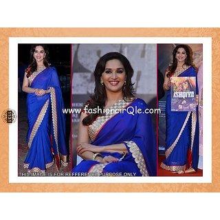 Madhuri Dixit Royal Blue Saree