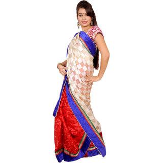 Stylish Cream Blue Red Cotton And Jacquard Half An Half Saree
