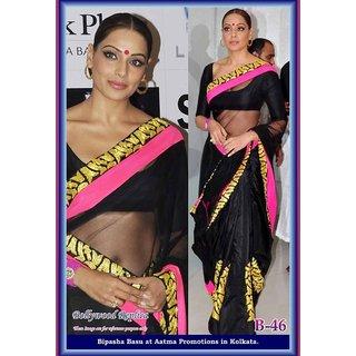 Bipasha black sari with gold and pink borders