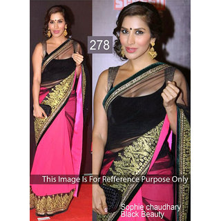 Sophie Pink with Black Net Boollywood Saree