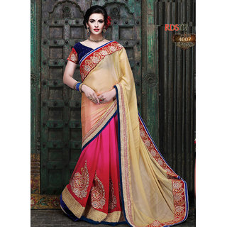 Rozdeal Pink Brocade Embroidered Saree With Blouse